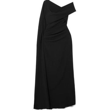 Talbot Runhof - Rosedale One-shoulder Cape-effect Crepe Gown - Black