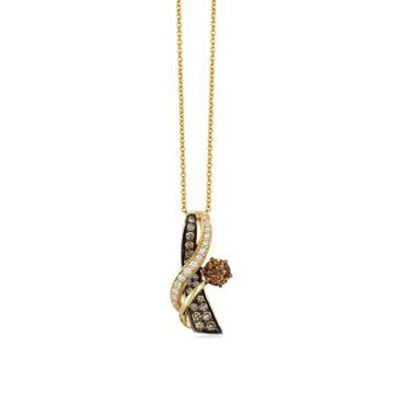 Le Vian Women 3/4 Ct. T.W. Chocolatier Chocolate Diamonds And 1/8 Ct. T.W. Vanilla Diamonds Pendant In 14K Honey Gold - -