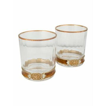 Pair of Hudson Double Old Fashioned Glasses cognac