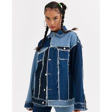 Jaded London oversized patchwork denim jacket two-piece-Blue