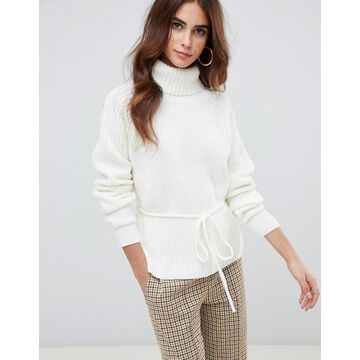 Fashion Union Roll Neck Sweater With Waist Tie