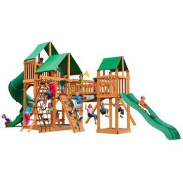 Gorilla Playsets Treasure Trove I Wood Swing Set w/ Deluxe Green Vinyl Canopy, 27 ft. 6 in. x 19 ft. x 13 ft., 01-1021-AP-1