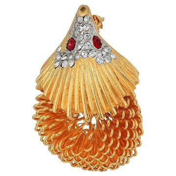 Kenneth Jay Lane Hedgehog Pin (Gold/Rhine/Ruby) Brooches Pins