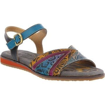 L'Artiste by Spring Step Women's Goldenite Slingback Turquoise Multi Leather