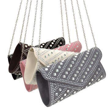 Dasein Rectangular Studded Rhinestone Evening Handbag