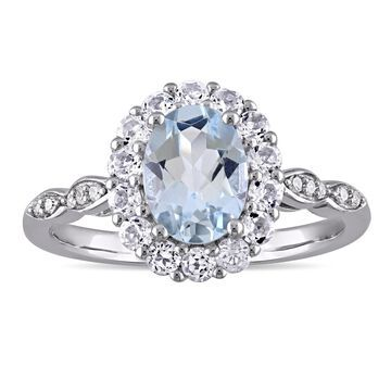 Miadora 14k White Gold Oval-cut Aquamarine White Topaz and Diamond Accent Halo Engagement Ring
