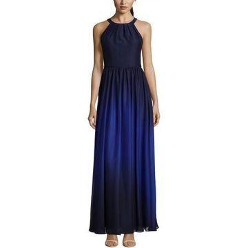 Betsy & Adam Womens Chiffon Halter Evening Dress