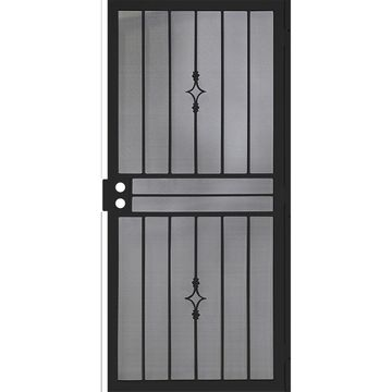 Gatehouse Covington Black Steel Surface Mount Single Security Door (Common: 36-in x 81-in; Actual: 39-in x 81.75-in)