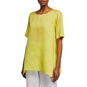 Plus Size Short-Sleeve Tissue-Linen Swing Tee