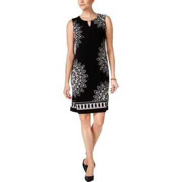 JM Collection Womens Petites Printed Sheath Wear to Work Dress