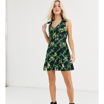 Reclaimed Vintage inspired mini dress with button and tie front in satin floral print-Multi