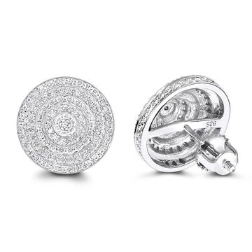 Luxurman Sterling Silver 1/5ct TDW Diamond Circle Earrings