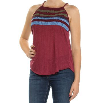 ALMOST FAMOUS Womens Maroon Embellished Spaghetti Strap Jewel Neck Top Size: M