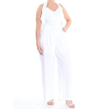 XOXO Womens White Crisscross Halter Straight leg Evening Jumpsuit Juniors Size: M