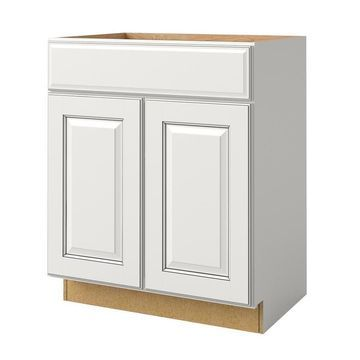 allen + roth Bickershire 27-in Pewter Bathroom Vanity Cabinet in White