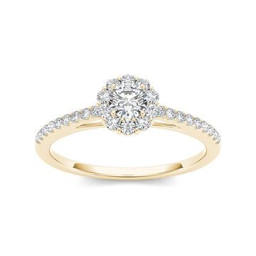 De Couer IGI Certified 10k Yellow Gold 1/2ct TDW Diamond Solitaire Engagement Ring