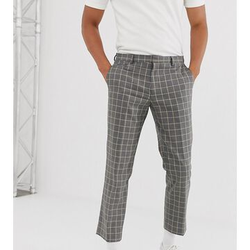 Noak slim fit cropped pants in gray grid check
