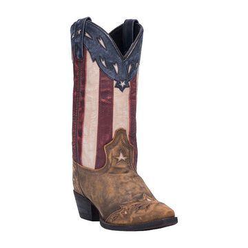 Laredo Womens Keyes Block Heel Cowboy Boots