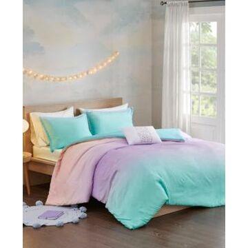 Mi Zone Glitter Ombre 4-Piece Full/Queen Reversible Duvet Cover Set Bedding
