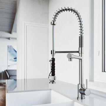 VIGO Zurich Stainless Steel 1-Handle Deck-Mount Pull-Down Handle Kitchen Faucet | VG02007ST