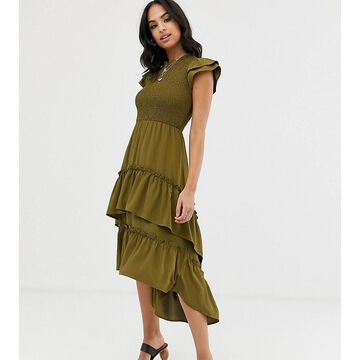 Vila smock tiered maxi dress-Green