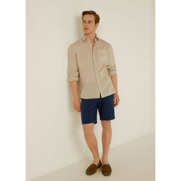MANGO MAN - Microstructure cotton bermuda short navy - 30 - Men