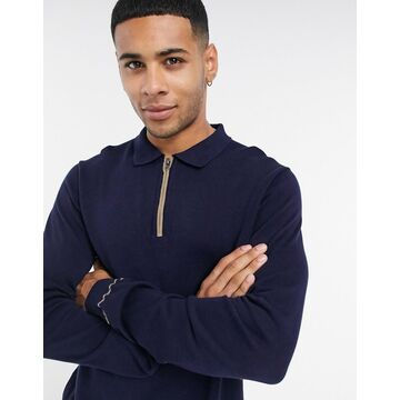 Jack & Jones Premium zip polo with long sleeves in navy