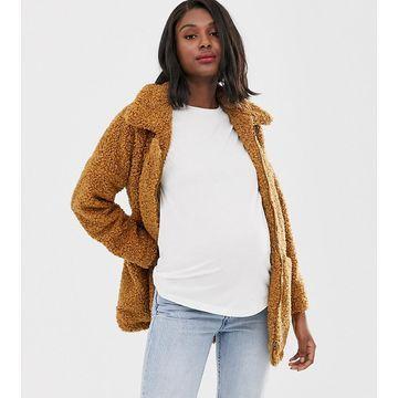 Mamalicious maternity multi functional teddy coat-Brown