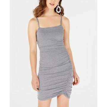 Juniors' Gingham Ruched Slip Dress