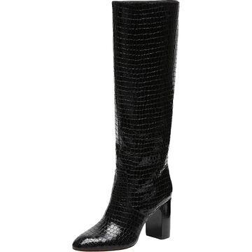 Loeffler Randall Womens Goldy Block Heel Boot Leather Embossed - Black