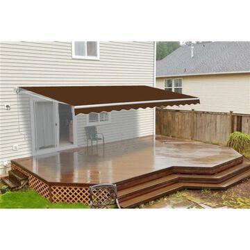 ALEKO Retractable 8X6.5 feet Deck Sunshade Patio Awning Brown (Brown)