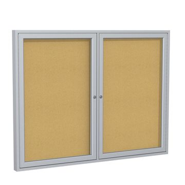 Ghent 2 Door Enclosed Natural Cork Bulletin Board with Satin Frame 3H x 4W