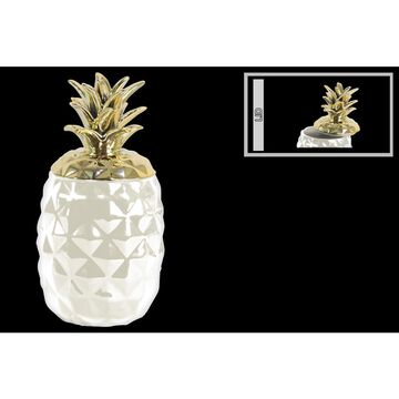 Ceramic Pineapple Canister with Gold Lid- White- Benzara