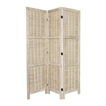 Oriental Furniture 3-Panel Burnt White Rattan Folding Transitional Style Room Divider in Off-White | FJ-MATCH-3P-BWHT
