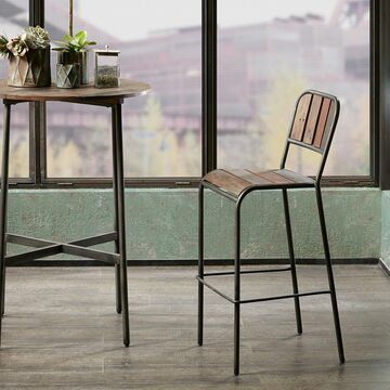 INK+IVY - Renu Counter Stool with Backrest - Light Brown - See below