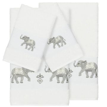 Authentic Hotel and Spa Turkish Cotton Elephants Embroidered White 4-piece Towel Set