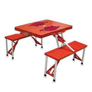 NCAA University of Arkansas Collegiate Foldable Table with Seats in Red