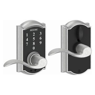 Schlage FE695-CAM-ACC Camelot Touch Entry Door Lever Set, Satin Chrome