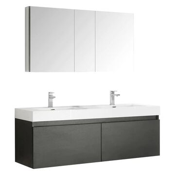 Fresca Senza 60-in Black Double Sink Bathroom Vanity with White Acrylic Top (Faucet Included) | FVN8042BW