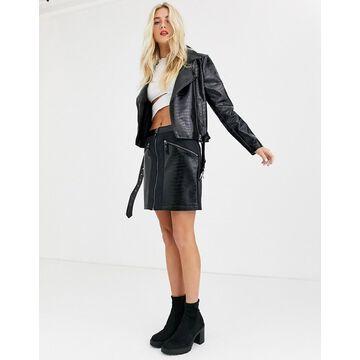 Noisy May snake skin faux leather mini skirt in black