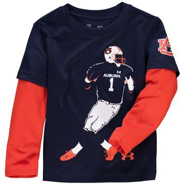 Auburn Tigers Under Armour Toddler Neon Player Long Sleeve Performance T-Shirt- Navy