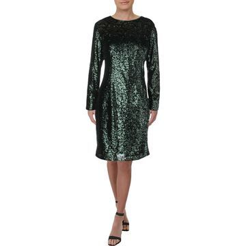 Carmen Marc Valvo Womens Sequined Long Sleeves Party Dress