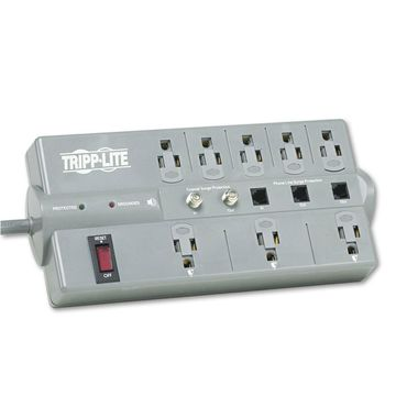 Tripp Lite TLP808TELTV Surge Suppressor 8 Outlets 8 ft Cord 2160 Joules Dark