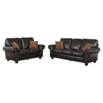 Abbyson Living Violetta 2-Piece Leather Sofa and Loveseat in Brown