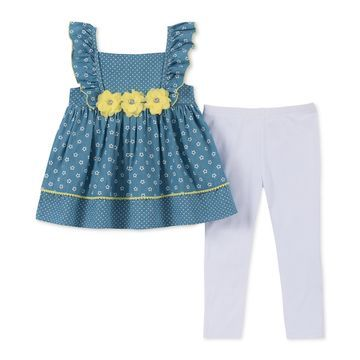 Baby Girls 2-Pc. Floral-Print Tunic & Leggings Set