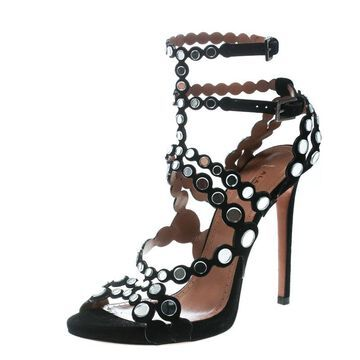 Alaia Black Mirror Embellished Suede Strappy Sandals Size 40.5