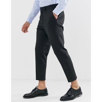 Selected Homme crop tapered jersey pants in gray pinstripe