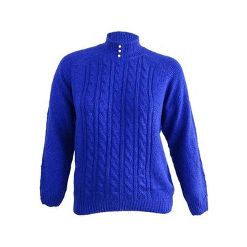 Karen Scott Women's Petite Cable-Knit Mock-Neck Sweater (PXL, Bright Blue) - Bright Blue - PXL