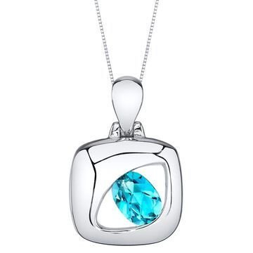 Oravo Swiss Blue Topaz Sterling Silver Sculpted Pendant Necklace