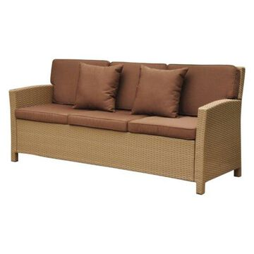 International Caravan Valencia Outdoor Patio Sofa in Honey & Dark Choc